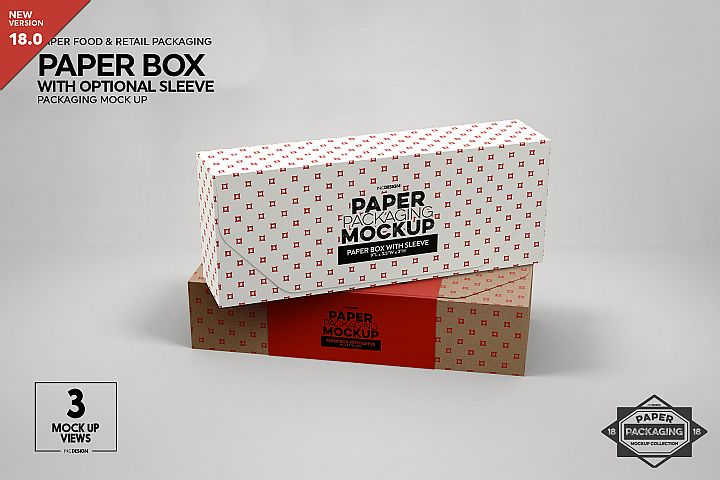 Paper Boxes with Optional Sleeve Packaging Mockup