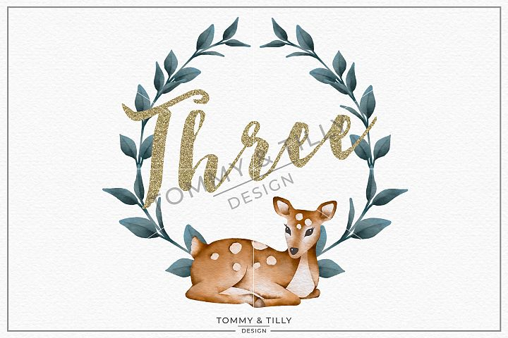 Three Birthday Deer Wreath - Sublimation PNG Clipart