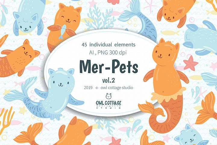 Mer-Cats vector and raster Clipart Set