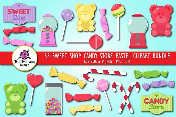 Sweet Shop Candy Store Pastel Coloured Clipart Bundle