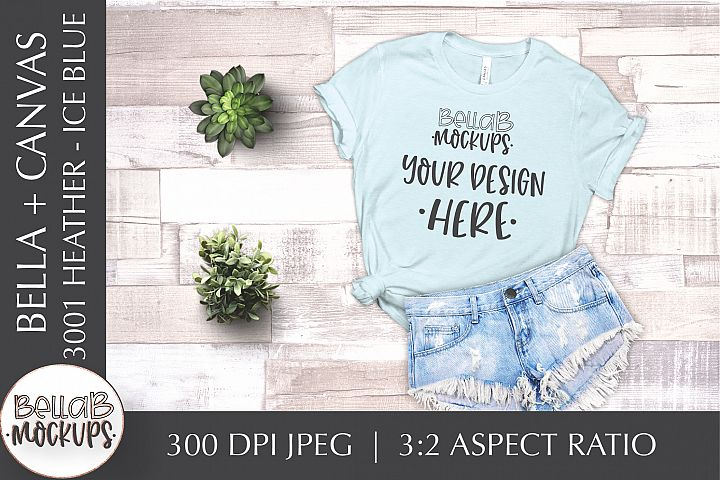 Bella Canvas 3001 Heather Womans T Shirt Mockup, Ice Blue