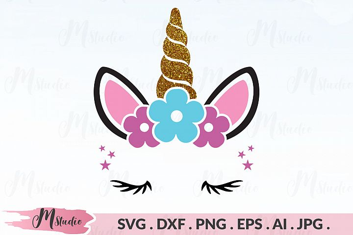 Unicorn floral svg