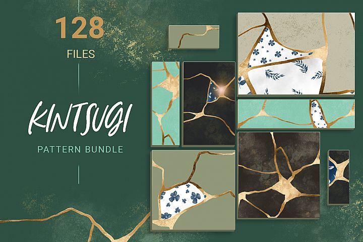 Kintsugi seamless pattern set