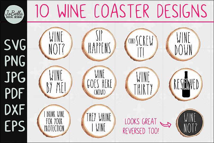 Funny Wine SVG Bundle for Coasters