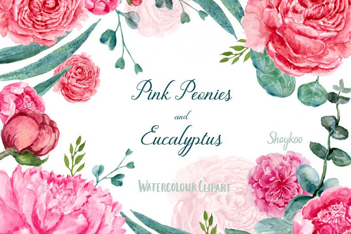 Watercolor Peonies and Eucalyptus Clipart, Hand Painted Watercolor Floral Clipart, Boho Wedding Clipart, Pink Peonies Watercolor Clipart