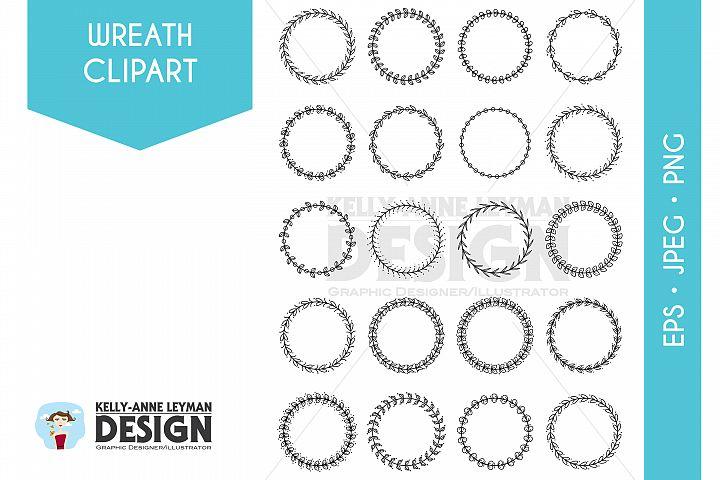 Hand Drawn Digital Wreath Clipart