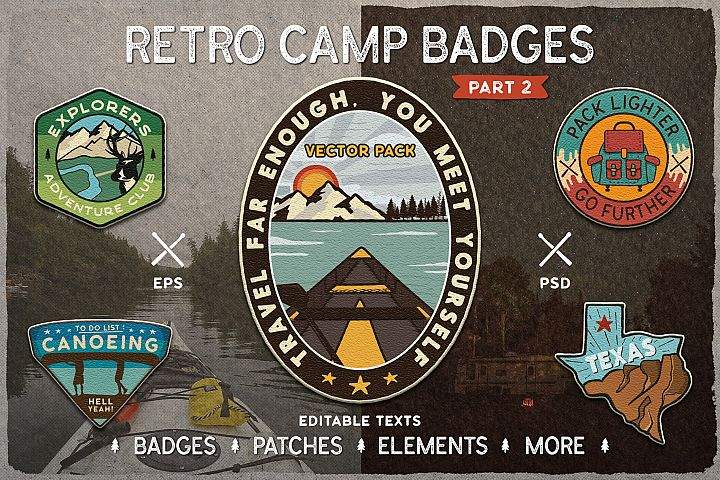 Retro Camp Badges / SVG Patches and Stickers. Part 2