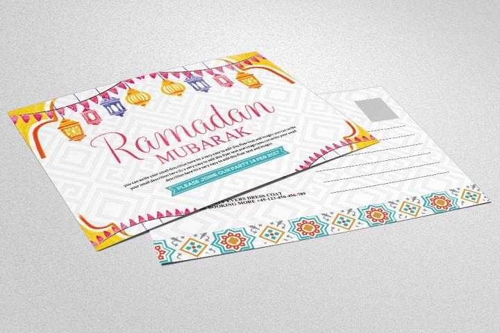 Ramadan Kareem - Postcard Template with Islamic
