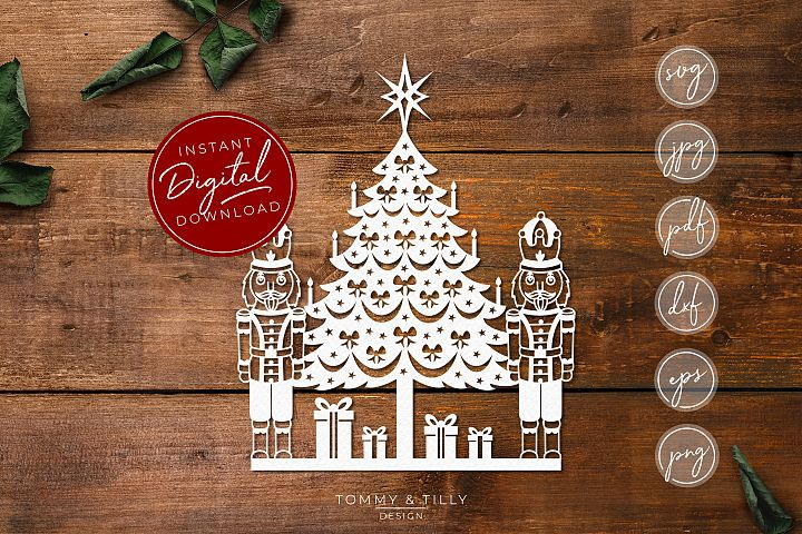 Christmas Tree and Nutcracker Scene - SVG EPS DXF PNG PDF
