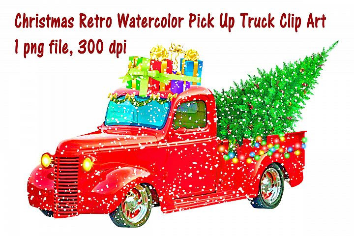 Watercolor Pick Up Truck with Christmas Gifts Clip Art