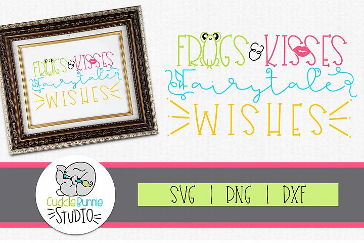 Frogs and Kisses| Fairy tale Wishes| Valentines|SVG