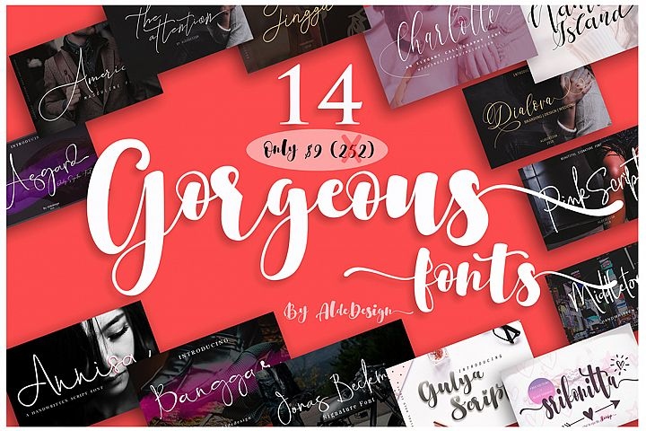 Gorgeous Bundle - 14 Fonts in 1 Pack