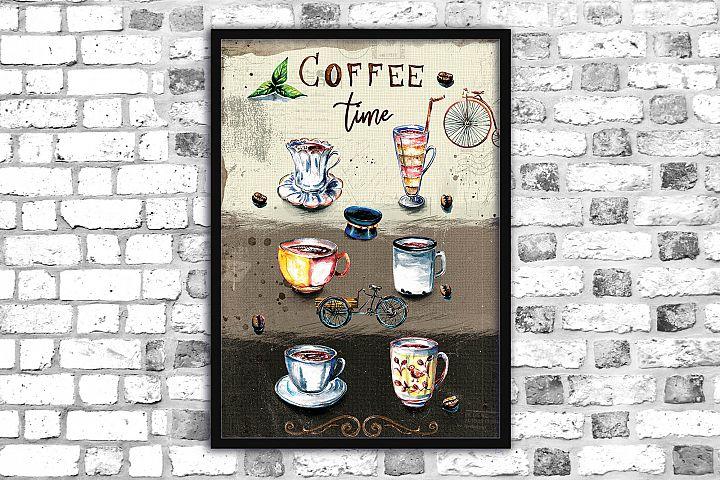 Coffee print,Printable illustration, Watercolor