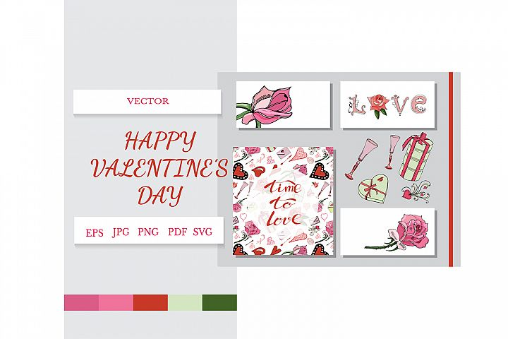 Card with hand drawn color elements of symbols of love.
