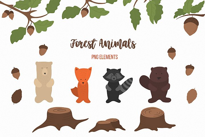 Cute Forest animals Baby autumn animals Woodland clipart