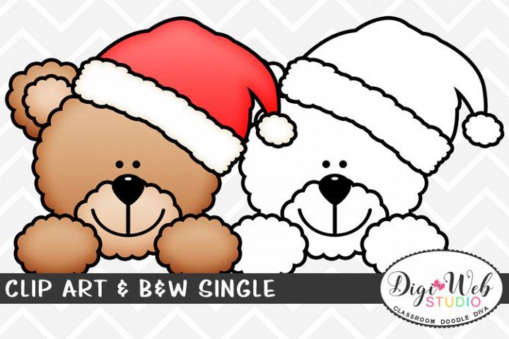 Clip Art & B&W Single - Teddy Bear Santa Claus Topper