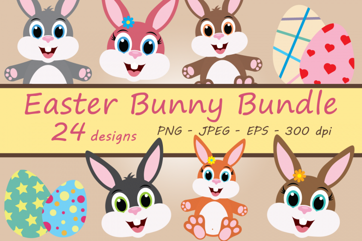 Easter Bunny Clipart Bundle, Decorated Eggs, PNG, JPEG, EPS