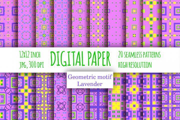 Violet checkered digital paper. Lavender scrapbook paper