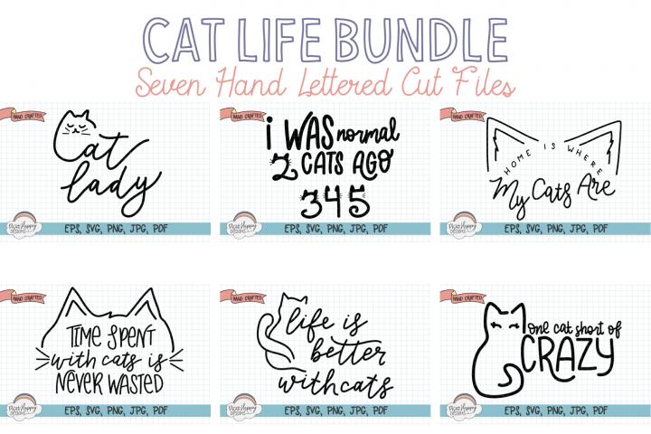 Cat Life Bundle - Seven Hand Lettered SVGs