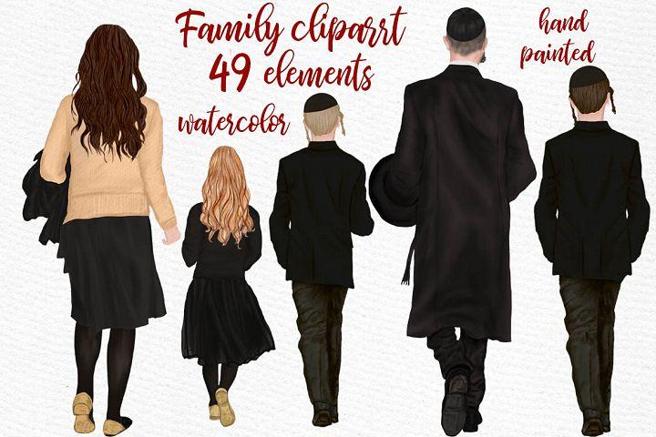 Family clipart, Jewish Family clipart, Yarmulkes clipart
