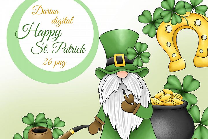 St Patrick gnomes clipart