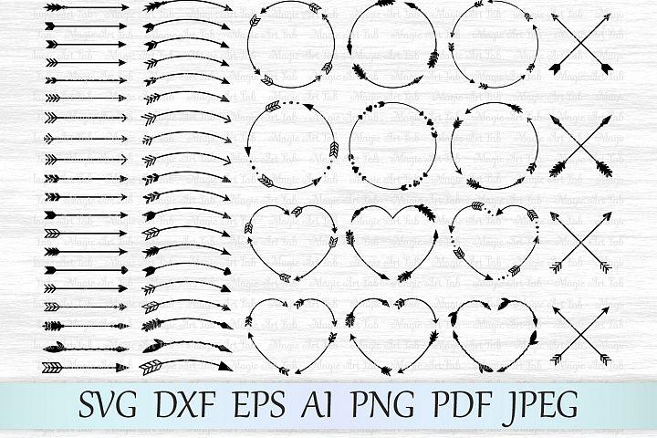 Arrows svg, Circle monogram svg, Circle frame arrow, Heart frame, Criss cross arrows, Tribal arrows svg, Boho arrows clipart, Ethnic aztec