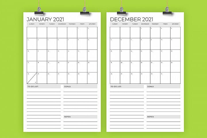 Vertical 11 x 17 Inch 2021 Calendar