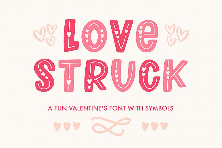 Love Struck, Thick Valentines Heart Font