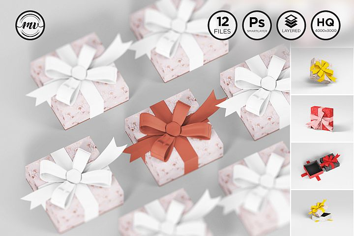 Gift box Flat Square Mockups V1