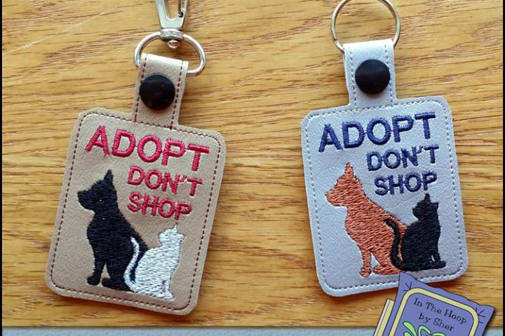 ITH Adopt Dont Shop Cat & Dog Vinyl Key Fob or Bag Tag - Snap Tab Machine Embroidery