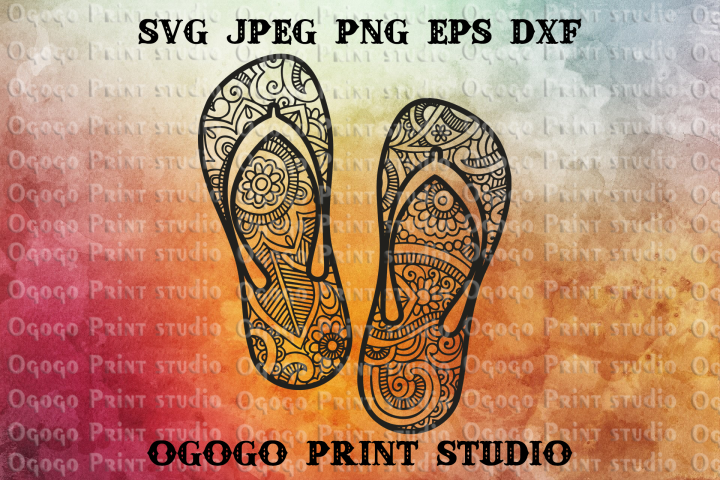 Flip flops SVG, Zentangle SVG, Beach svg, Mandala svg