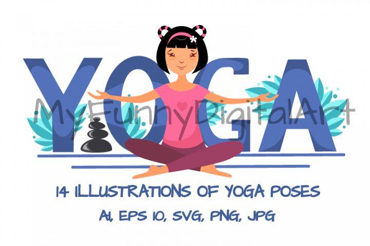 14 Illustrations of Yoga Poses