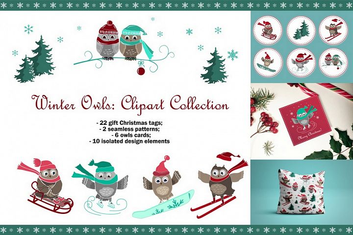 Winter Owls. Clipart Collection