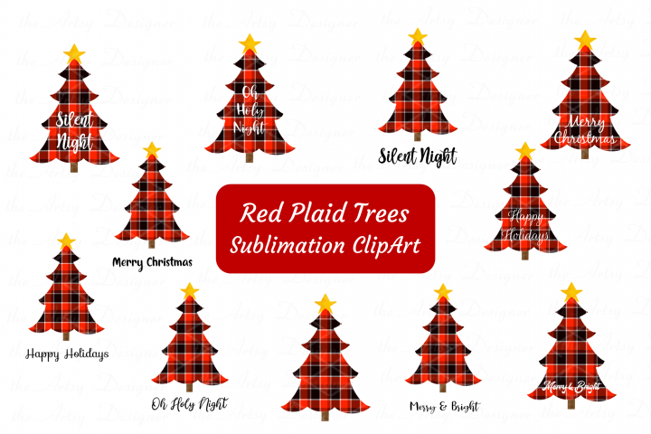 Red Buffalo Plaid Christmas Trees Sayings Sublimation Bundle