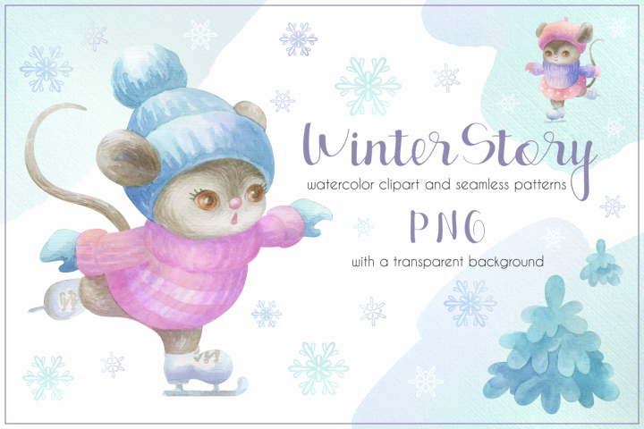 Winter story. Cute little mice. Watercolor set