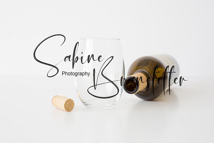 Styled Stock Photography Neutral Stemless Wine Glass Mockup