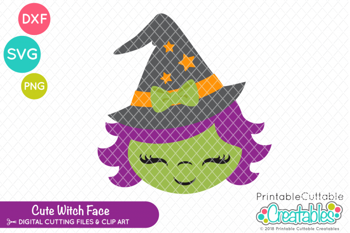 Cute Witch Face SVG