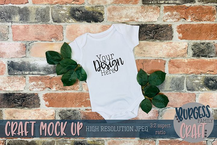 Baby bodysuit on brick Craft mock up |High Res JPEG