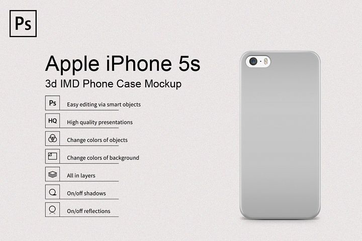 Apple iPhone 5s 3d Phone Case Mockup Back View
