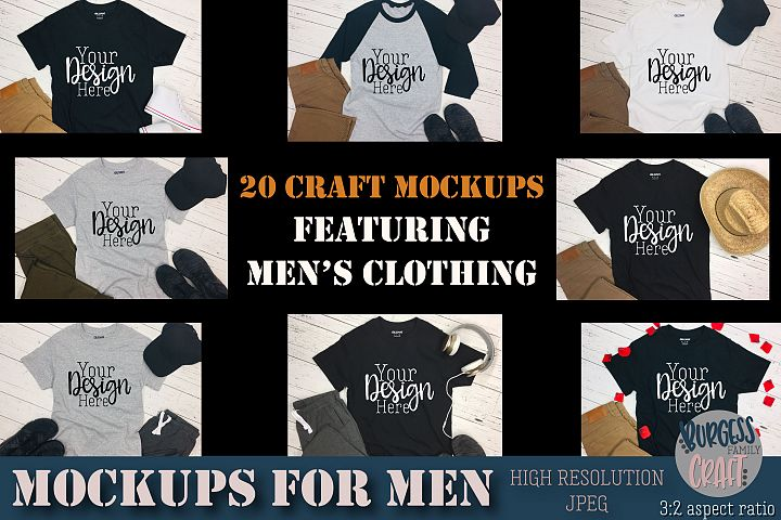 Mens clothing bundle Craft mock ups |High Resolution JPEG