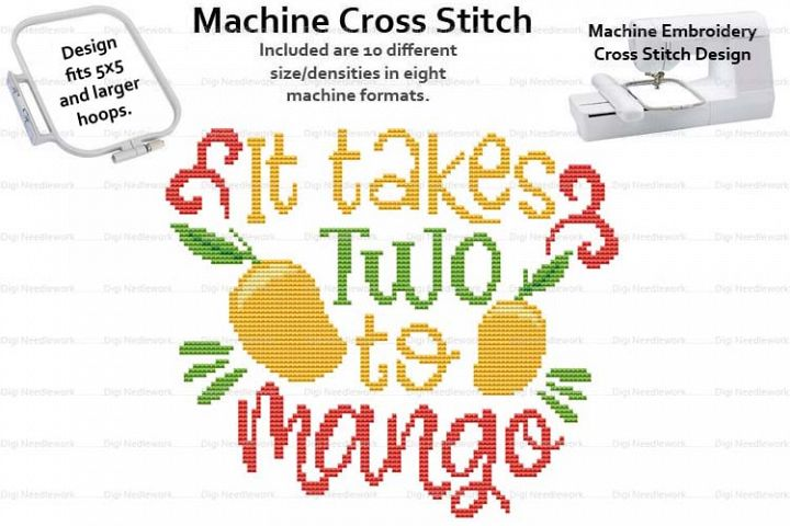 It Takes Two To Mango 5x5 Hoop Mach Embroidery Cross Stitch