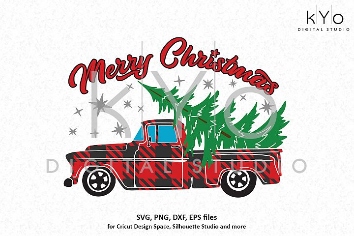 Merry Christmas Plaid Truck svg png dxf files