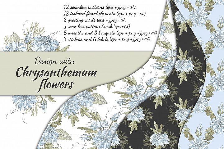 Design with chrysanthemum flowers.