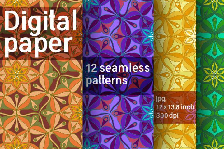 Set of 12 digital abstract seamless patterns. Digital paper