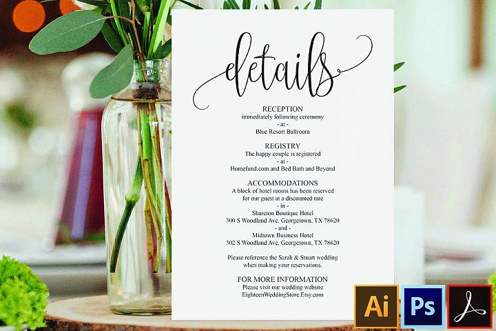 Wedding Details Card PDFtemplate, instant download printable