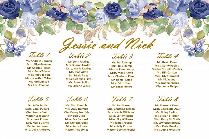 Wedding Seating Plan SignA1, A2 and A3 Template Customisable