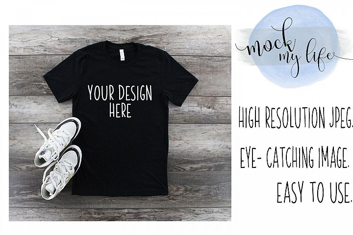 Black Bella Canvas Mockup / Plain Shirt Mock up