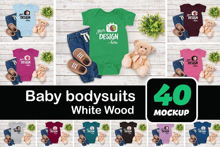 Baby bodysuits 001 white wood