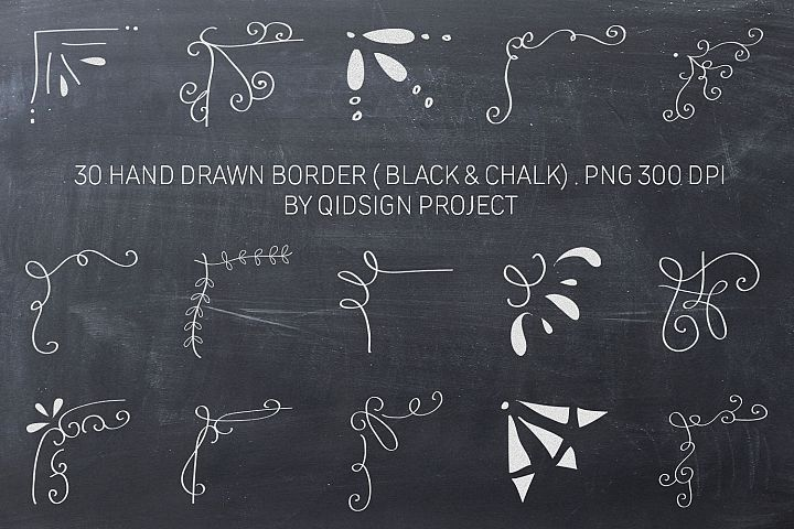 30 Hand Drawn Border Black and White Clipart, PNG 300 DPI