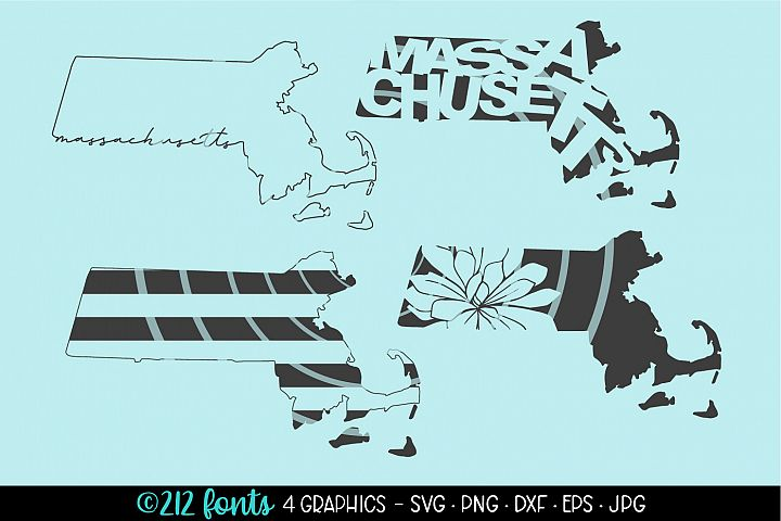 4 - Massachusetts State Map Graphic Cut File DXF PNG JPG SVG